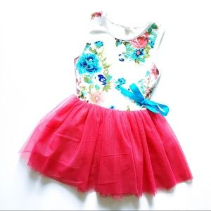 Girls Boutique Pink Tulle Tutu Dress Floral Sz 3/4